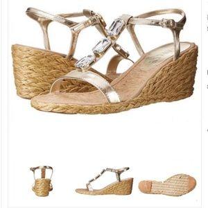 Ralph Lauren Embellished Espadrille Wedge Sandals